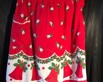 Vintage Christmas - Bells & Holly berry apron