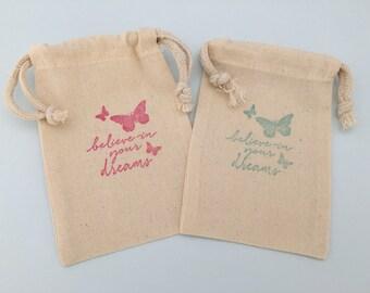 Butterfly Favor Bags: Believe In Your Dreams Butterfly Design Muslin Favor Bag, Butterfly Party Supplies