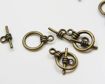 30 Sets Antique Brass Tone Base Metal Toggle Clasps (1050Y-K-182B)