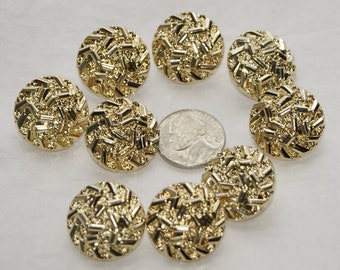 9 Gold Buttons, Matching Shank Back Buttons, Gold Nuggets, Sewing, Craft (R 42)