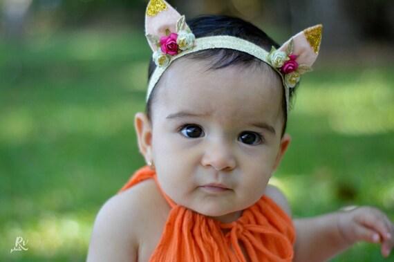 Pink Ears Headband, Infant Ears Headband, Gold Ears Headband, Spring Headband, Girls Headband, Ear Headband