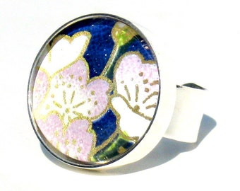 Silver Cocktail Ring. Metal and Blue and White Flowers Adjustable Ring: Lilac Sakura