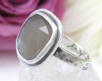 Silver Moonstone Ring - faceted Moonstone Ring - sterling silver natural moonstone ring - US size 8