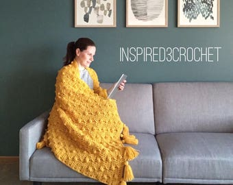 Textured Throw Blanket ~ Pop of Color ~ Chunky Crochet Blanket with Tassels ~ Home Decor ~ Golden Yellow Throw Blanket