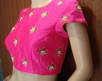 Beautiful embroidery blouse with pearls and sequins work