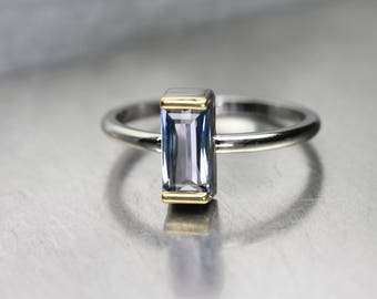 Untreated Color Shift Tanzanite Engagement Ring 14K White 22k Yellow Gold Lilac Periwinkle Blue Pale Purple Delicate Setting - Lavender Link