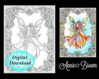 Adult coloring page Fairy |Fairy Coloring Page for Adults | Fantasy Coloring Digital Fairy Border by Annie Brown | Brown Cottage Books