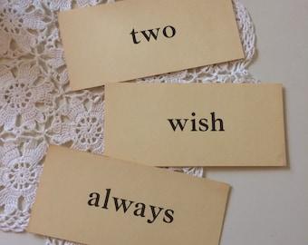 always vintage flashcard / vintage paper ephemera / paper sign / word flashcards / wedding decor / always wish two sign