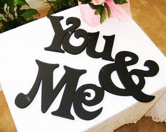 You & Me - Custom painted wooden wedding letters-Home decor- wall hanging- monogram letters- Photography prop