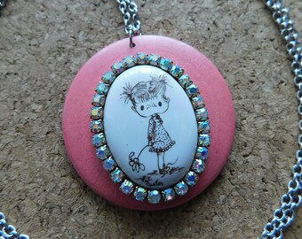 handpainted upcycled cab LARGE pendant GIRL FAIRY necklace ooak rhinestones crystals