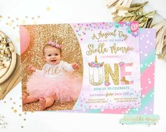 Unicorn Birthday Invite, Unicorn Face Birthday Invitation, Unicorn Invitation, Magical Invitation, Unicorn Party, Girl BIrthday, Photo Card