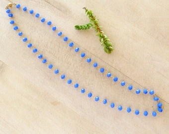 """21"""" Deep Blue Chalcedony Rosary Chain Necklace, Convertible Necklace to Bracelet Rosary Chain, Magnetic Clasp Necklace"""