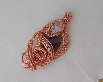 Faceted Smoky Quartz Oval Bead Wire Weave with Diamond Quartz Coated Copper Wire Wrapped Jewelry Handmade Renaissance Amulet Unique
