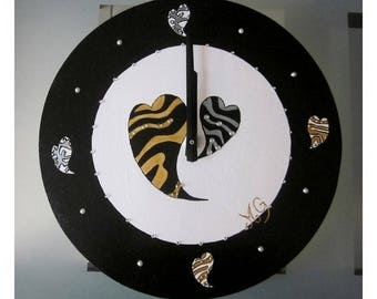 Black and white hearts and rhinestone wood clock