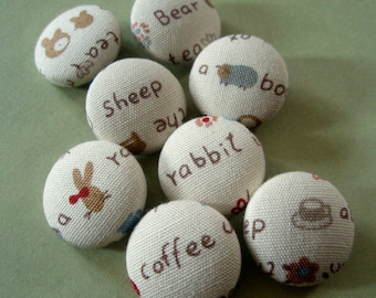 Cute Buttons - Limited Edition Fabric-Covered Buttons - Words and Pictures Covered Buttons - Children's Button Set - Kids' Buttons