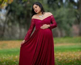 Fitted Maternity Gown for Photo Shoot-Maternity Dress for Baby Shower-Long Maternity Dress-Maternity Gown Long Sleeve-MADISON  DRESS