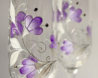 Purple Wedding Glasses, Purple Wine Glasses, Purple Champagne Flutes, Anniversary Gift, Wedding Flutes