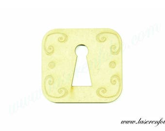 Beautiful stylish rectangular plate giving the illusion of a real lock, made of medium, size 5