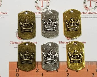 5 pcs per pack 30x18mm Crown Dog Tag in Gold, Bronze or Silver Tone Lead Free Pewter