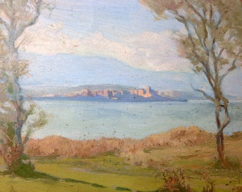 French Oil Painting on Cardboard - Island Lake View