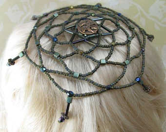 MEADOW jewish kippah judaica hebrew beadwoven copper green khaki, purple, metallic czech beads and crystals