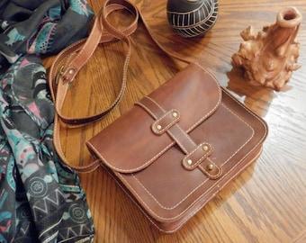 Small leather bag, Handmade crossbody bag, Leather shoulder bag, Small leather purse, Brown leather bag, Small brown bag, Small purse