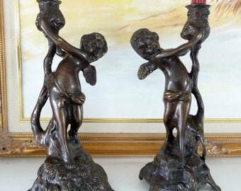 Antique Cherub Putti Bronze Candle Holders Pair of Art Noveau Candlesticks from TreasuresOfGrace