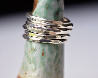 Set of 6 Sterling Silver Hammered Stacking Rings - Silver Rings - Stacking Rings - Thin Rings - Hammered Rings - Knuckle Rings - Boho Rings