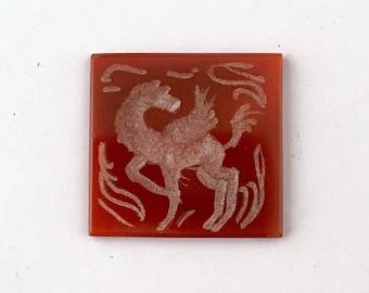 Persian Intaglio Carnelian Intaglio Winged Horse Pegasus Signet Cabochon for Pendant Mythology