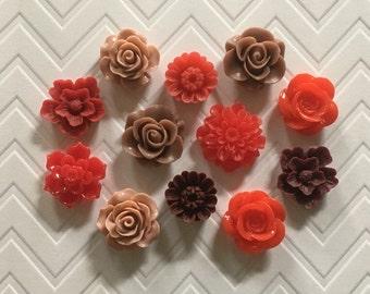 Flower Thumbtacks or Magnets Set of 12 - (#181) dorm decor, hostess gift, weddings, bridal shower, baby shower, gift, teacher gift