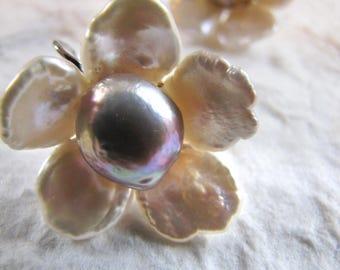 Flower Earrings, Petal Pearl Earrings, Keshi Pearl Earrings, Silver Earrings, Handmade