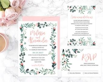 Floral Wedding Invitation Suite, Greenery Wedding Invitation Set, Printable Wedding Invitation, Summer Wedding Invitation Template, GRDWS