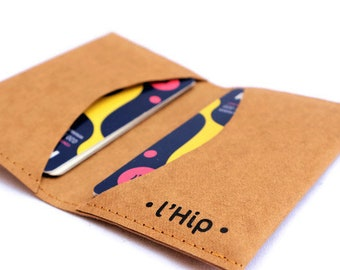 Leather paper snappap vegan small creditcard holder wallet business card cases handmade mens men pocket fathersday bankcard gift citytrip