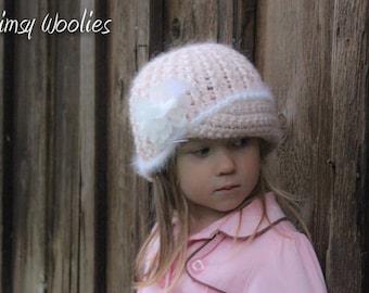CROCHET HAT PATTERN: 'Vintage Twist', Fabric Flower, Newborn to Women