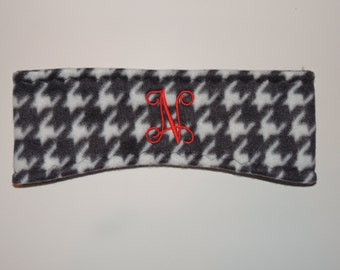 Ear warmer, headband, fleece ear warmer, houndstooth