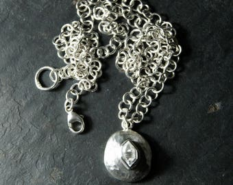 Herkimer Diamond and Sterling Silver Stone Necklace   sterling silver pebble, wide chain