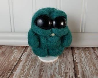 Adorable Needle Felted Wool Toothy Monster-  Dark Teal, Big eyes