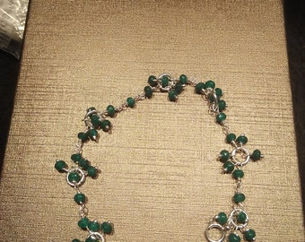 Silver Bracelets with Natural emeralds
