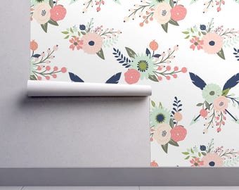 Floral Wallpaper - Gracie Blooms By Graceandcruzdesigns - Shabby Chic Custom Printed Removable Self Adhesive Wallpaper Roll by Spoonflower