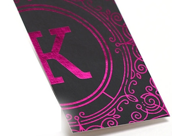 1000 Business Cards - pink metallic foil stamped on silk laminated stock - 16 PT matte - custom printed
