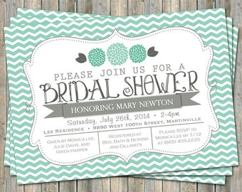 Mint Green Chevron Bridal Shower invitation with flowers, mint green and gray,  printable, digital file
