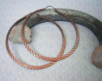 Twisted  Hammered Copper Hoop Earrings Big Earrings Rustic Jewelry Large Hoop Earrings Large Hoops Metalwork Jewelry