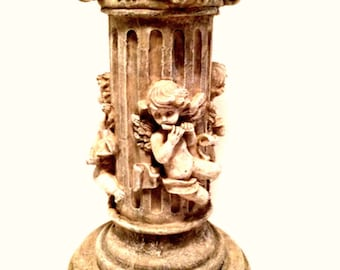 Musical Cherubs Column Pedestal Plant Stand Art Display 12.5 inches Tall