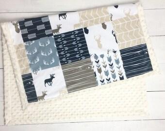 Deer antlers Baby blanket, Minky blanket, beige Navy Gray woodland blanket, baby shower gift, birth, boy blanket, personalized throw blanket