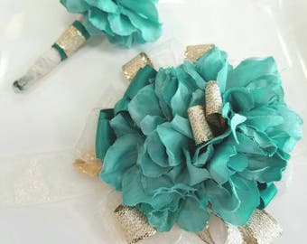 Light Teal and Gold Wrist Corsage with Matching Boutonniere HonecomingTeal Wrist Corsage Ready to Ship