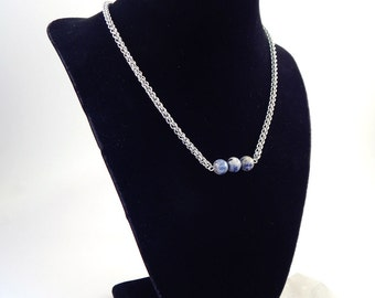 Sodalite and JPL Chainmaille Layering Necklace