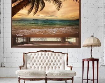 Palm Tree Tropical Beach Stormy Sky Printed Photo Picture Roller Window Blind Block Out or Translucent Blind
