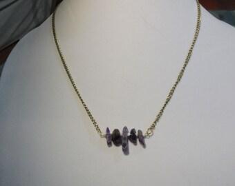Amethyst Gemstone Bar Necklace   Gemstone Bar Necklace   Amethyst Necklace   February Birthstone