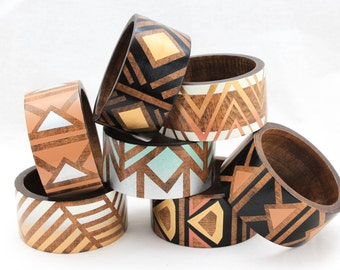 Voz Deco Bangle Color Fade/ Wide Flat Wood Bracelet/ Painted in a Gradient/ Metallic Colors and Neutrals/ Art Deco Inspired/ Geometric/ s-xl