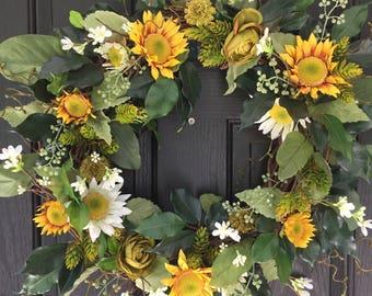 Front Door Wreath, Spring Wreath, Summer Wreath, Front Door Decor, Sunflower Wreath